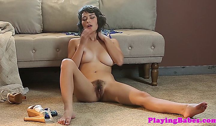 Masturbation - Big Boobed Solo Brazilian Frigs Her Hairy Bush